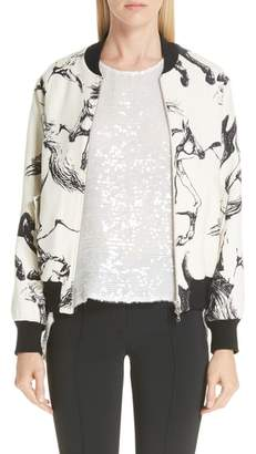 ADAM by Adam Lippes Horse Print Wool Bomber Jacket