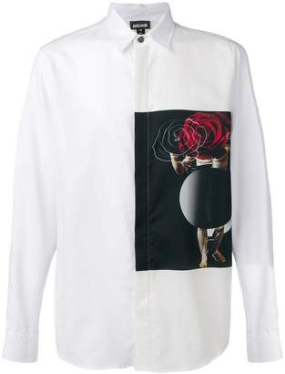 Just Cavalli contrast-patch fitted shirt