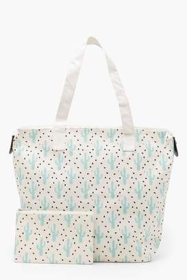 boohoo Amy Summer Printed Canvas Shopper With Matching Purse
