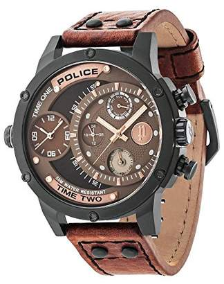 Police Men's Mechanical Watch with Brown Dial Analogue Display and Brown Leather Strap 14536JSB/12A