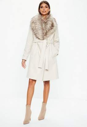 Missguided Cream Faux Fur Collar Coat, Cream