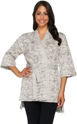 Halston H By H by Wrap Front Jacquard Jacket with Belt