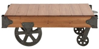 "DecMode 45"" x 16"" Industrial Metal & Rustic Wood Cart Coffee Table with Wheels"