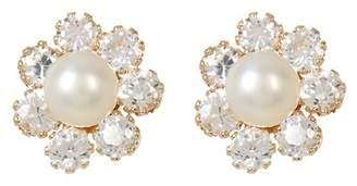 Candela 14K Yellow Gold CZ & 4mm Freshwater Pearl Flower Stud Earrings