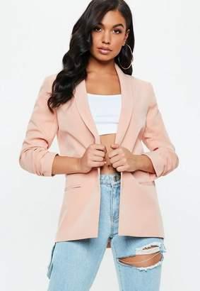 Missguided Peach Ruched Sleeve Blazer