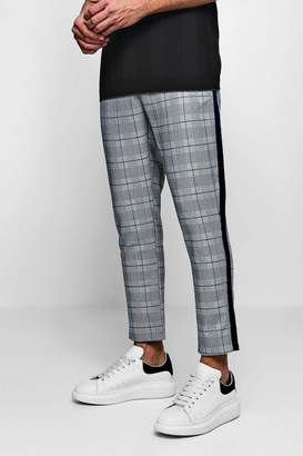 boohoo Smart Check Jogger With Tape Detail
