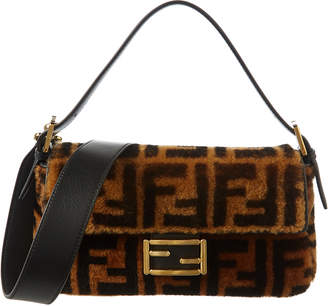 Fendi Ff Shearling & Leather Shoulder Bag