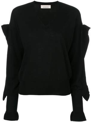 Laneus v-neck embellished sleeve sweater