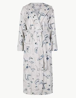 M&S Collection Fleece Printed Long Sleeve Dressing gown