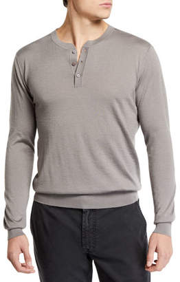 Stefano Ricci Men's Long-Sleeve Henley Shirt