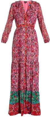 Saloni Ginny Floral Print Silk Crepe Dress - Womens - Pink Multi