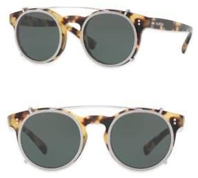 Valentino Rockstud Rivet 47MM Clip-On Round Sunglasses