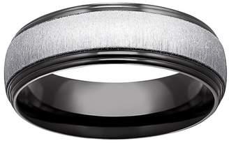 Kohl's Black Ion-Plated Titanium & Titanium Beveled Band - Men