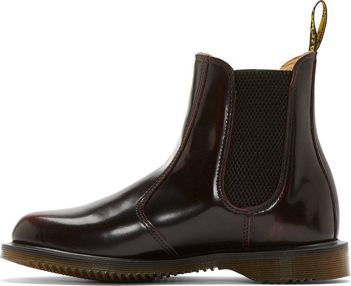 Dr. Martens Burgundy Flora Chelsea Boots