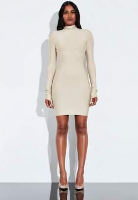 Missguided Ivory Bandage Ruched Sleeve Dress