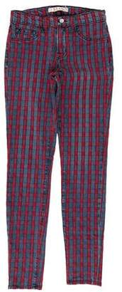 J Brand Plaid Mid-Rise Jeans
