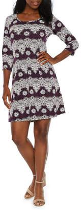 Ronni Nicole 3/4 Sleeve Pattern Puff Print Shift Dress