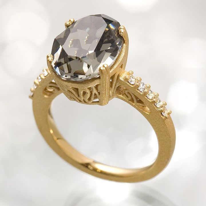 Simply vera vera wang 18k gold-over-silver black crystal ring