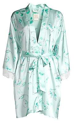Kate Spade Women's Bridal Floral Lace Trim Robe