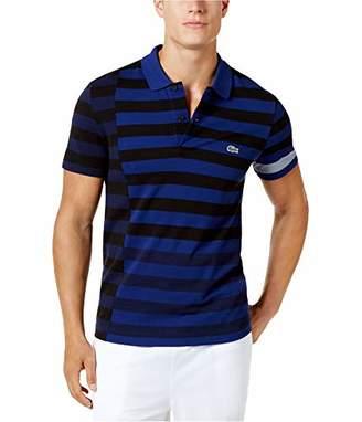 Lacoste Men's Short Sleeve Broken Striped Regular Fitular Pique Polo
