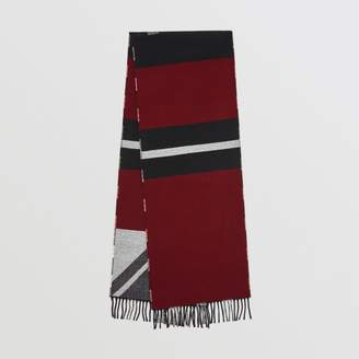 Burberry Reversible Stripe and Check Wool Cashmere Scarf, Black