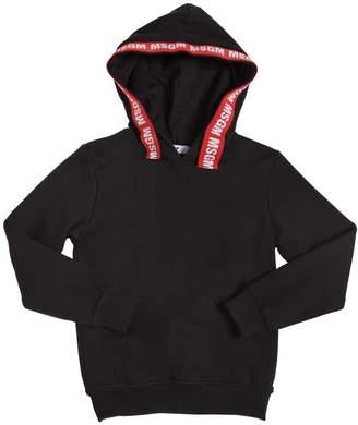 MSGM Logo Trim Cotton Sweatshirt Hoodie