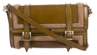 Burberry Patent Leather-Trimmed Crossbody Bag