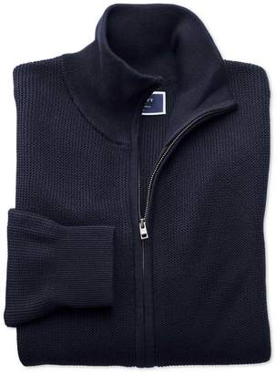 Charles Tyrwhitt Navy Pima Cotton Textured Zip Through Cardigan Size Large