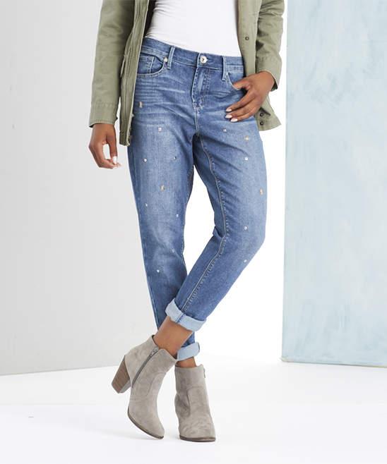 Creon Blue Star-Studded Straight-Leg Jeans - Women