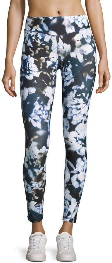 Charlie Jade Charlie Jade Floral-Print Performance Leggings, Blue Pattern