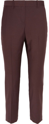 Theory - Treeca 2 Cropped Wool-blend Slim-leg Pants - Merlot $315 thestylecure.com