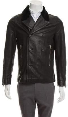 The Kooples Fur-Trimmed Leather Jacket