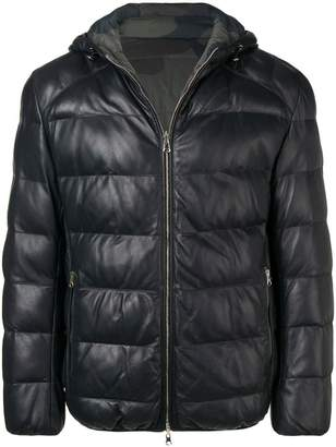 Eleventy reversible padded leather jacket