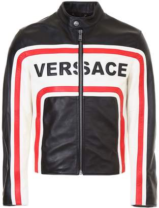 Versace Leather Jacket With Logo