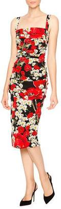 Dolce & Gabbana Poppy & Daisy Folded-Pleat Sheath Dress, Red/Black/White $2,395 thestylecure.com