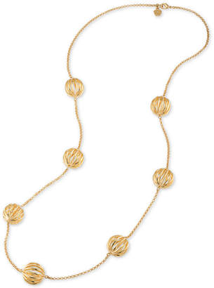 Trina Turk Gold-Tone Cut-Out Bead Long Necklace
