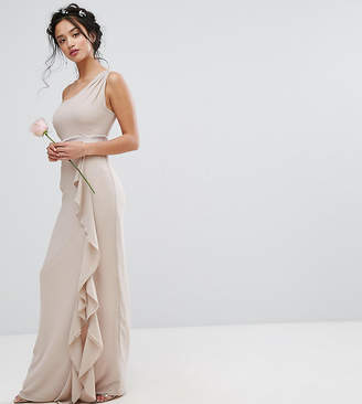 At ASOS TFNC Petite Wedding One Shoulder Maxi Dress With Frill Detail