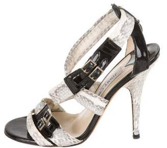 Jimmy Choo Python Ankle Strap Sandals