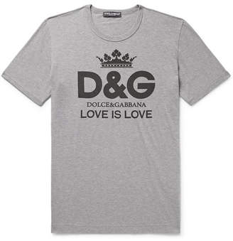 Dolce & Gabbana Logo-Print Cotton-Jersey T-Shirt - Men - Gray