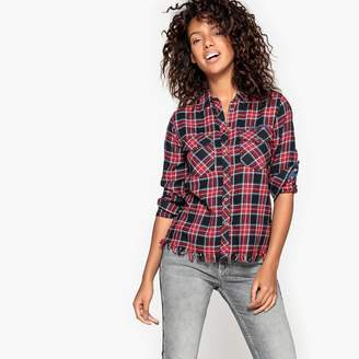 Pepe Jeans Checked Shirt with Frayed Hem