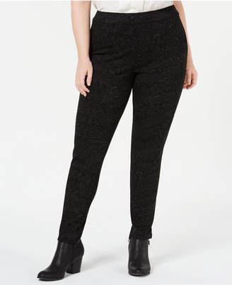 Style&Co. Style & Co Plus Size Tonal-Print Seam-Front Leggings