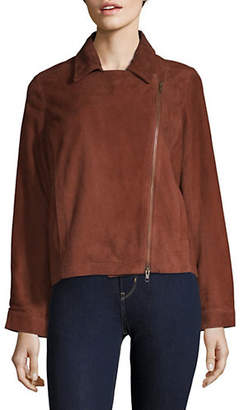 Eileen Fisher Stand Collar Suede Zip Jacket