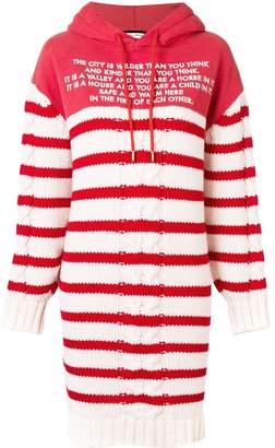 Each X Other Mix Media Striped Sailor Knit Hoodie Dress