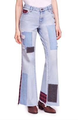 Free People Mix Plaid Slim Flare Jeans