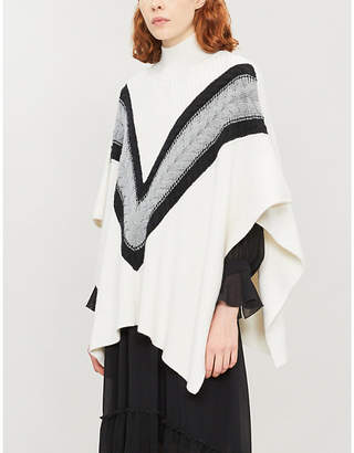 See by Chloe Chevron pattern wool-blend cape