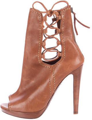 Miu Miu Miu Miu Leather Peep-Toe Booties