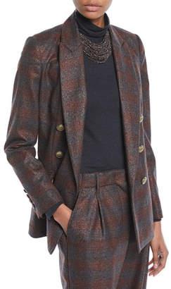 Brunello Cucinelli Double-Breasted Metallic Plaid Blazer Jacket w/ Brass Buttons