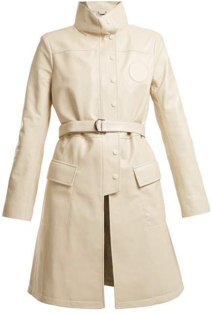High-neck belted leather jacket