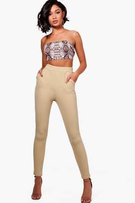 boohoo Crepe Stretch Skinny Trousers
