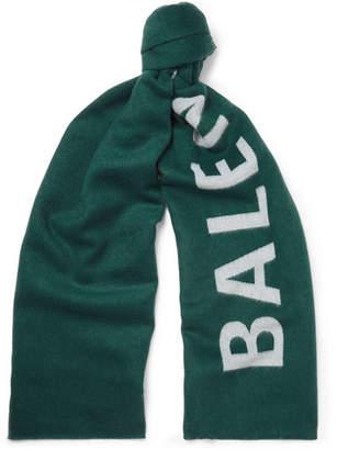 Balenciaga Logo-Jacquard Wool Scarf - Men - Green